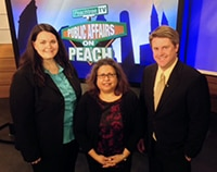 Kimberly DeCarrera on Public Affairs on Peach, Peachtree TV, to discuss unclaimed property efforts in Georgia, pictured with fellow guest and show host
